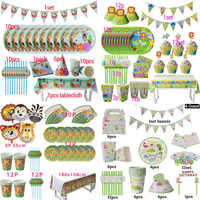 Jungle Birthday Party Decoration Disposable Tableware Set Jungle Animal Forest Friends Zoo Theme Supplies Baby Shower Safari
