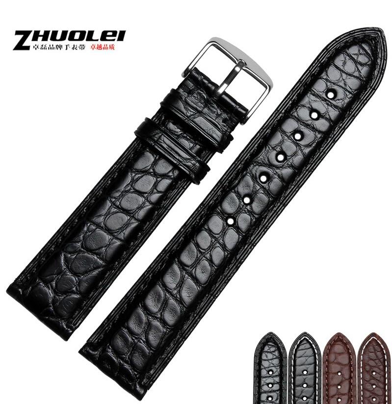 18mm 19mm 20mm 21mm 22mm 23mm 24mm NEW Quality Unisex Crocodile Genuine Leather Black Brown WristWatch Bands Womens Mens чемодан средний m vip collection travel 19 1jl 24 19 1jl 24 p078 v brown nc