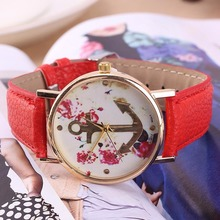 Glod case watch the trend of female waterproof strap leather ladies watch quartz watch women's fashion flower dial (Red)