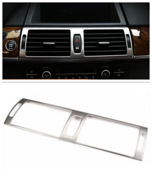 Steel Chromium Styling Interior Middle Console Air-conditioning Outlet Cover Trim 1pcs For BMW X6 E71 2009 2010 2011 2012- 2014