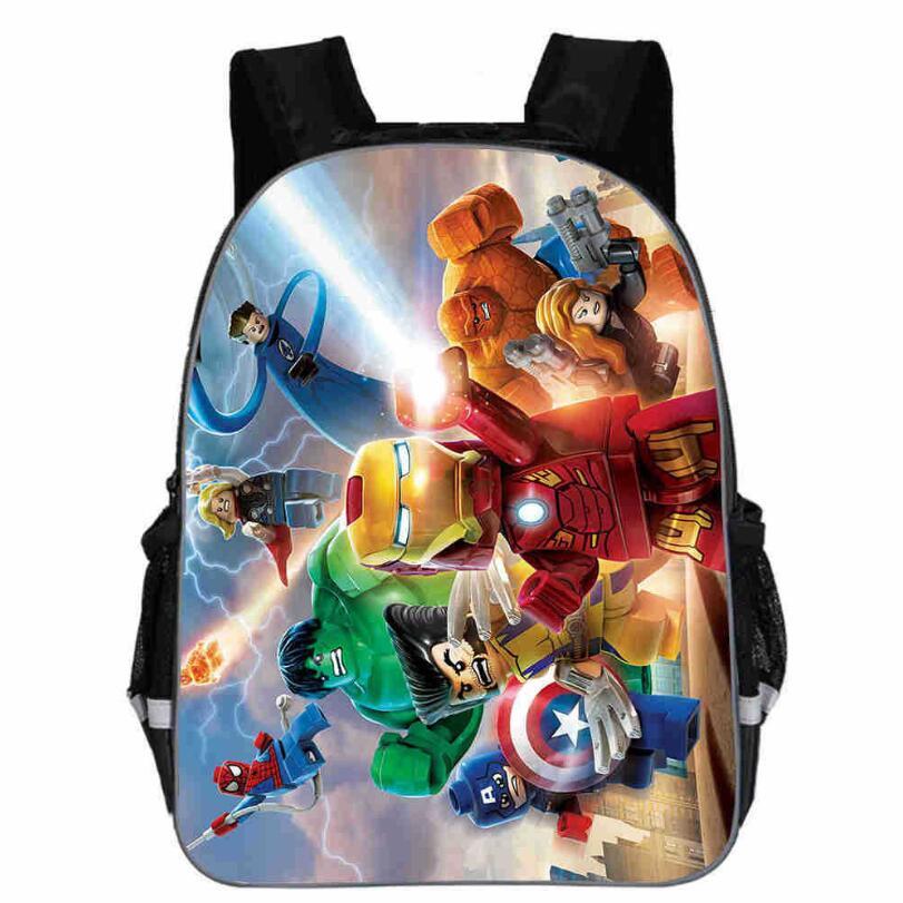 13 Inch Avengers Iron Man Backpacks Captain America Hulk Thor War School Bags Daily Travel Bag Boys Girls Double Shoulder Bags