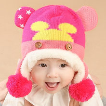 Baby Hats 2018 New Arrival Autumn Winter Newborn Cut Cartoon Head Earmuffs Hats for Girls Boys Toddler Infant Warm Knitted Cap(China)