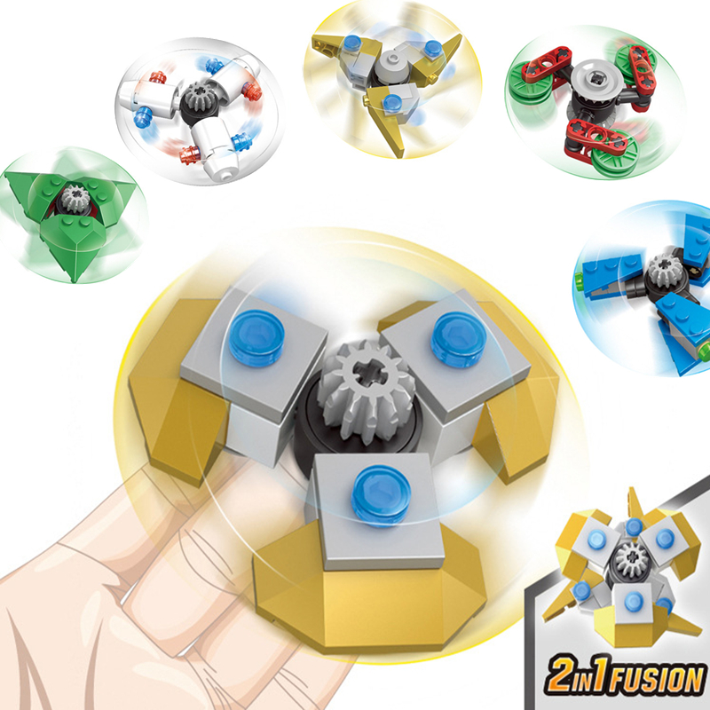 6pcs/lot Plastic Finger Spinner 2IN1 Fusion Hand Rotating Spiner Fidget Building Blocks Model Toys For Children Gift