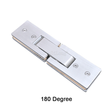 1PCS 304 Stainless Steel Door Hinges 180 Degree Rectangle Brushed Glass Hinge Square Bathroom Shower Clip JF1754