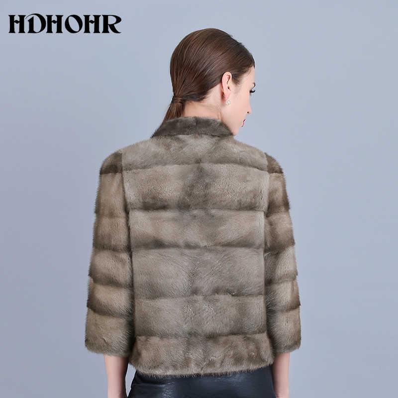 HDHOHR 2019 Новое поступление шубы из натурального меха женские шубы из натурального меха норки зимние куртки из меха норки