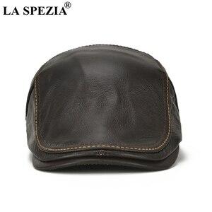 Image 5 - LA SPEZIA סתיו חורף כובעים שטוחים גברים חום מתכוונן מקור ברווז כובעי זכר אמיתי עור פרה עור קלאסית high end נהיגה Caps