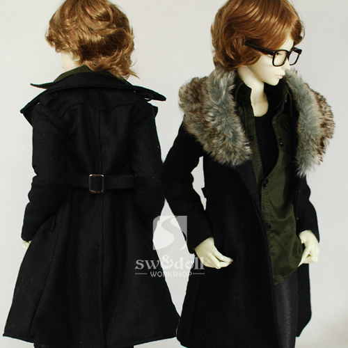 Handsome Fur Collar Black Woolen Coat for BJD Doll 1/4 1/3 Uncle BJD SD MSD Doll Clothes CM70 new handsome fashion stripe black gray coat pants uncle 1 3 1 4 boy sd10 girl bjd doll sd msd clothes