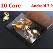 Deca Núcleo 3G 4G LTE Tableta de 10 pulgadas Android 7.0 RAM 4 GB ROM 128 GB 8.0MP Tarjeta SIM Dual Bluetooth GPS Tablets 10 pulgadas tablet pc