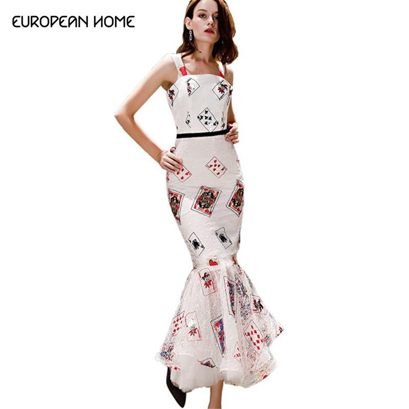 2019 vestido de verano ropa de las mujeres plus tamaño nuevo alta calidad vestido de fiesta elegante de cola de pescado de tarjeta de póquer larga primavera vestidos-in Vestidos from Ropa de mujer    1