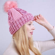 New Fashion Warmer Hat Cap Women Winter Head Warm Knitted Wool Hat Thickened Cap With Fur Ball  Women's Clothing & Accessories