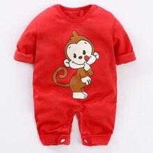 цены на YiErYing Baby Romper Lovely Long Sleeve 100% Cotton Cartoon Monkey Print Baby Boys Girls Clothes Newborn Jumpsuits 0-12M  в интернет-магазинах