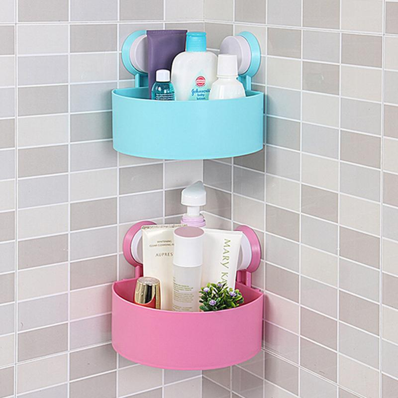 Lovely Bathroom Corner Rack Organizer Wall Shelf With Suction Cup Storage Box Shower Basket White Pink Green Blue In Bo Bins From Home