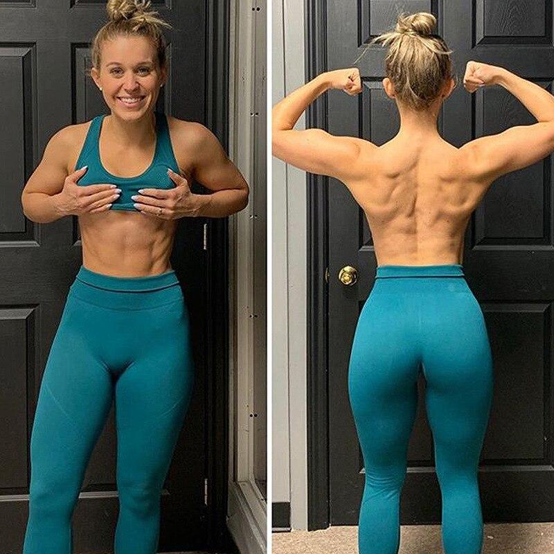 Women Sweat Squat Proof Booty Sexy Slim Capris Workout Yogaing Pant & Bra Dry Fit Hip Butt Lift Seamless Nylon Set Gyms Leggings 4
