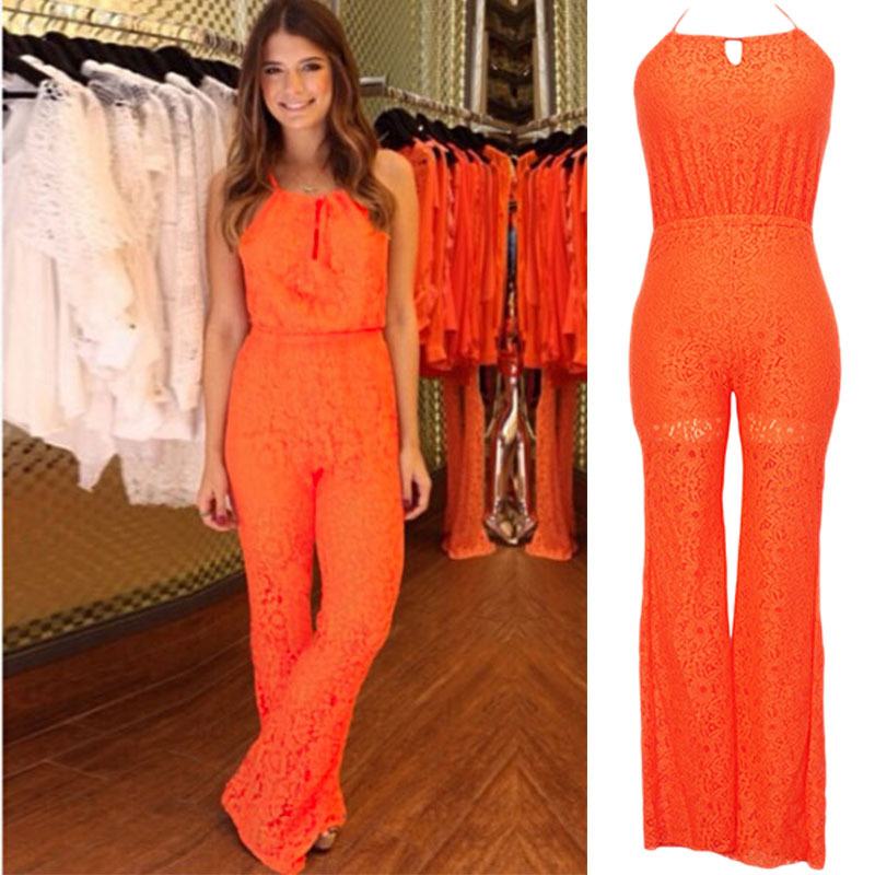 66eedffbf35 Fashion orange Rompers Women Jumpsuits Sexy Lace Jumpsuit Sleeveless halter  neck Loose Solid Fashion Bodysuit Female Rompers