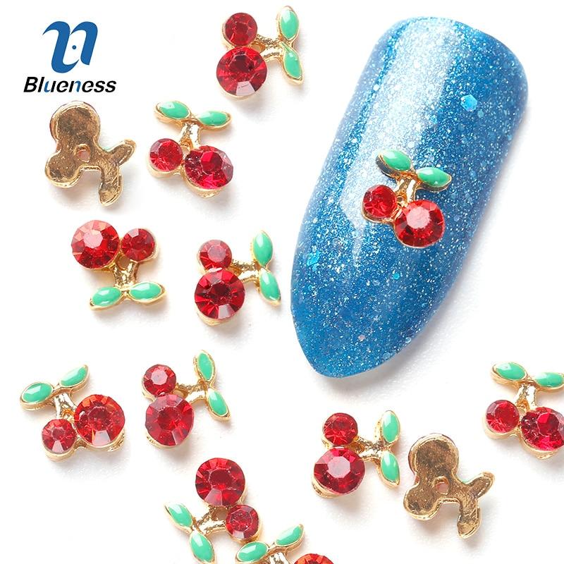 2014 nova 10 Pcs cereja ferramentas de arte 3D pedras de cristal de strass para unhas liga decoração de unhas Art Glitters DIY TN061