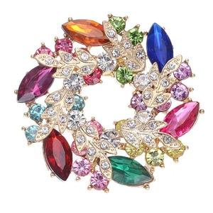 New fashion Big Flower Brooches High-Grade Lovely Crystal Brooch pins Fashion Women Jewelry wedding Gift