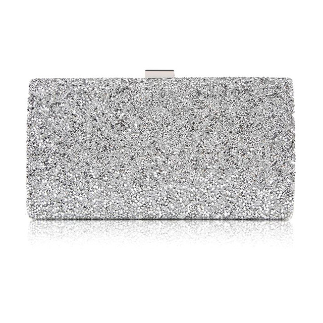 Women Evening Clutch Bag Diamond Sequin Clutch Female Crystal Day Clutch Wedding Purse Party Banquet Black/Gold Silver Two Chain 1