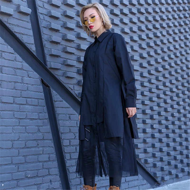 Женские топы и блузки из лоскутного кружева с отложным воротником, новинка 2019, Длинная черная нестандартная рубашка, весенние платья