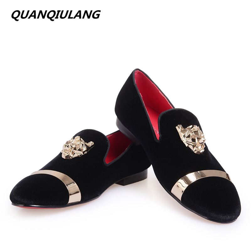 2016 New Fashion Red Bottoms Men Party and Wedding Handmade Loafers Men Velvet Shoes Gold Buckle