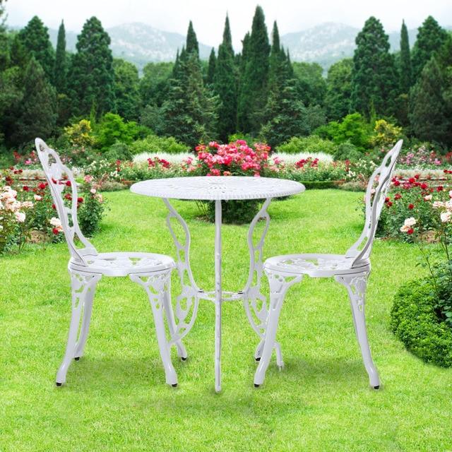 IKayaa 3PCS Outdoor Patio Garden Bistro Set Furniture Rose Design Iron  Aluminum Porch Balcony Cafe Table