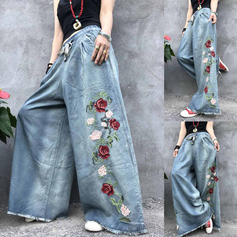Free Shipping 2020 New Tassels Wide Leg Long Pants For Women Flower Embroidery Trousers Denim Jeans Elastic Waist Casual Pants