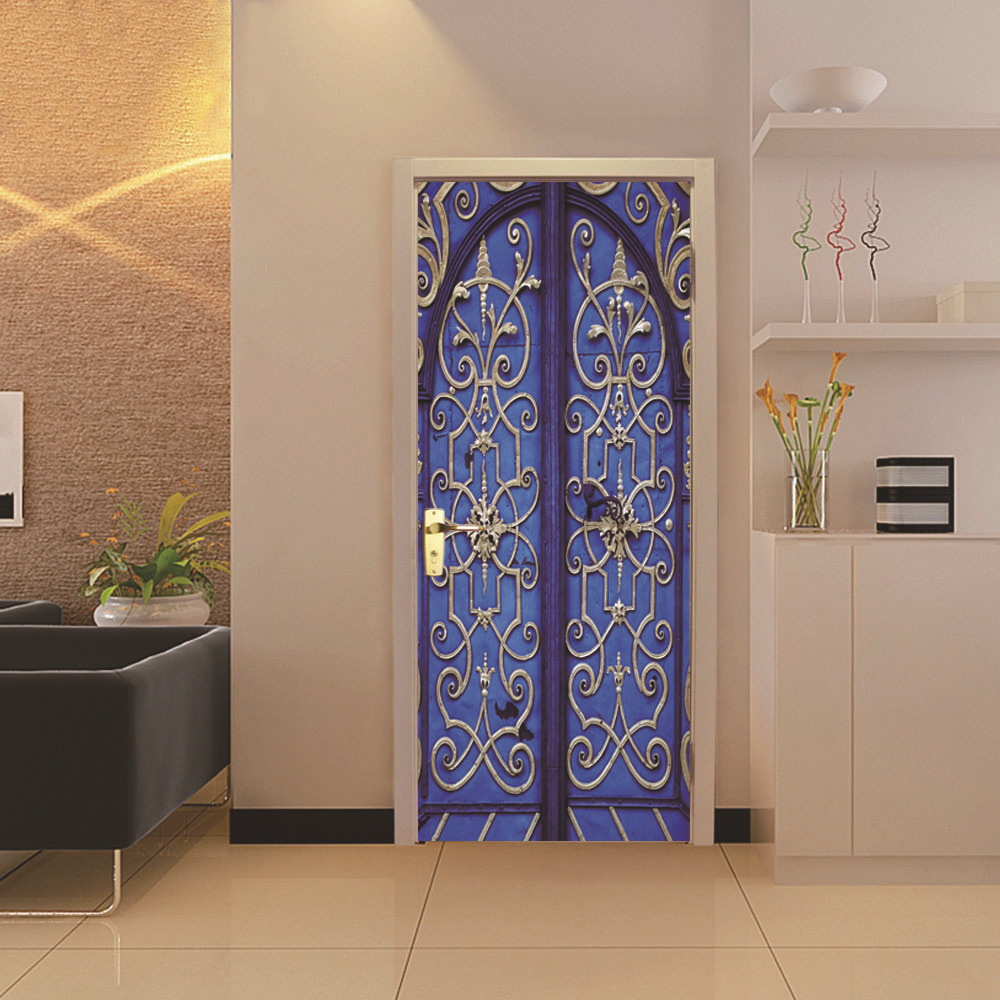 Image 3 - 3D Ethnic Style Fake Door Door Stickers Waterproof Removable DIY Self Adhesive Wall Decals Home Bedroom Background Wall Decor-in Wall Stickers from Home & Garden