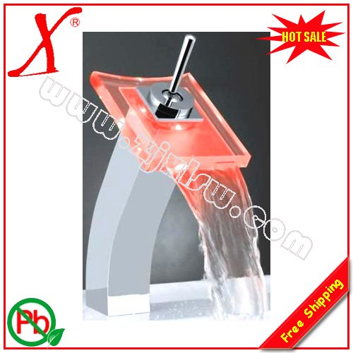 ФОТО Retail- Brass Square Color Change Glass LED Faucet, Glass Led Mixer, Led COlor Tap, Deck Mounted, Free Shipping X8331B2