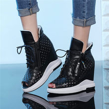 NAYIDUYUN  Goth Sneakers Women Lace Up Cow Leather Wedges Platform Gladiator Sandals Open Toe Punk Summer Pumps Casual Shoes
