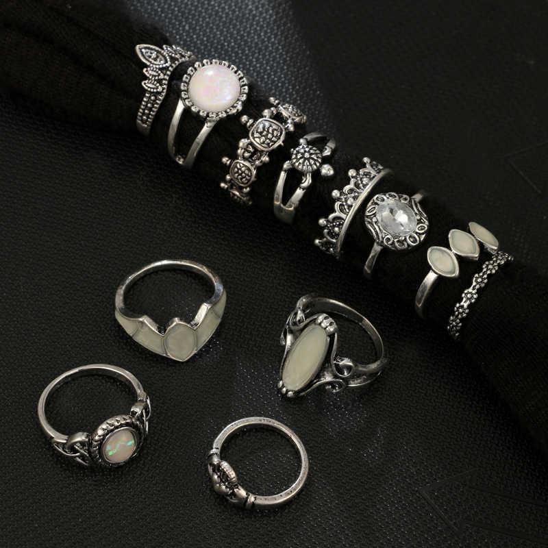 Docona vintage opal tartaruga coroa forma junta midi anéis para mulher boêmio cinzelado strass anel de dedo anillos 5870