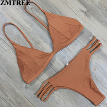ZMTREE Marca 2017 Nueva Sexy Swimwear Women Solid Bikini Set Vendaje Playa Traje de Baño Empuja Hacia Arriba El traje de Baño Brasileño Biquinis Mujeres