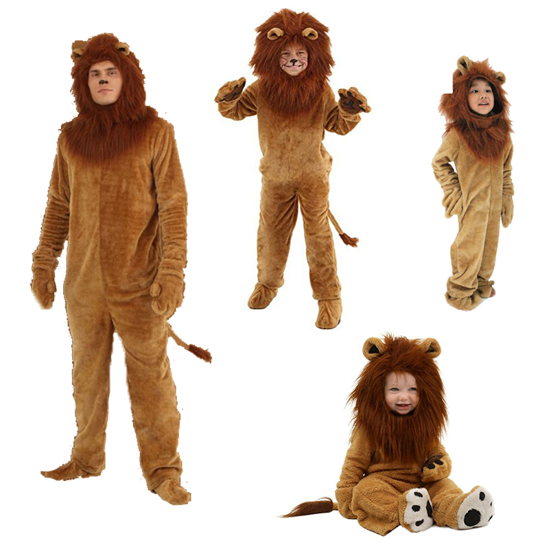Lion Cosplay Costume Kids Adult Clothes Halloween Party Baby Girls Boys Clothing Children Suits Famlily Pajamas Jumpsuits 2017 new boys clothing set camouflage 3 9t boy sports suits kids clothes suit cotton boys tracksuit teenage costume long sleeve