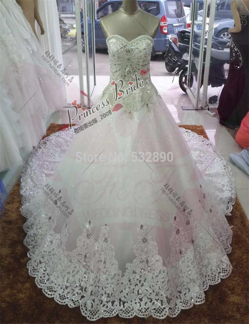 מותרות כלה שמלת 2017 כדור שמלה מתוק כבד קריסטל קתדרלה מלכותית רכבת טול שמלות כלה לנשים
