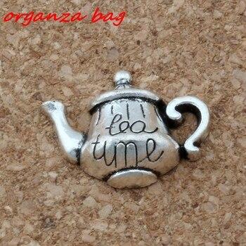 """MIC 200 Uds aleación de Zinc de un solo lado """"hora del té"""" Té colgante encantos 19*12,5mm DIY joyería A-137"""