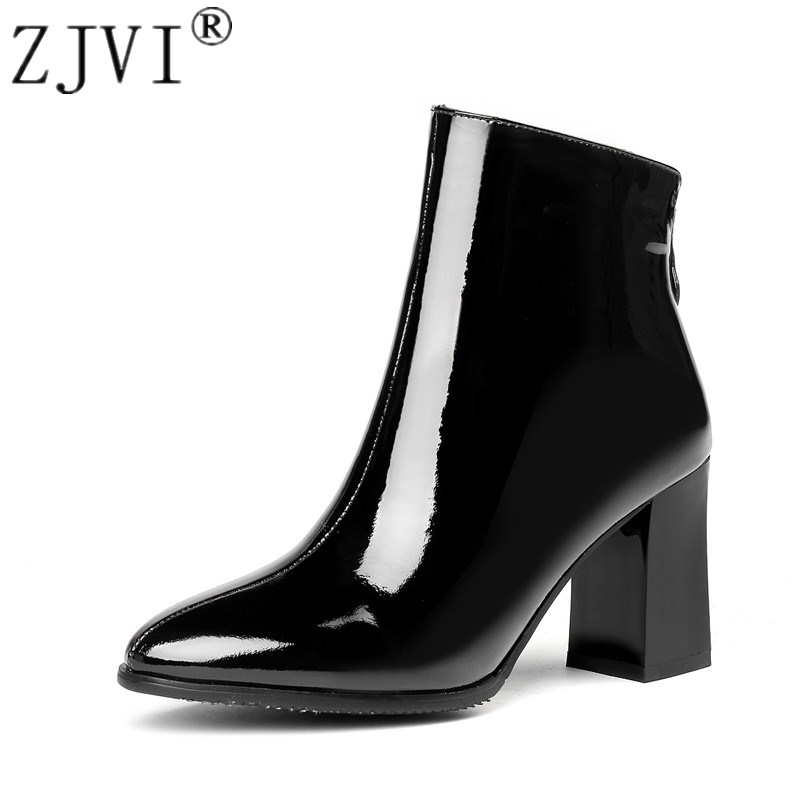 ZJVI womens patent genuine leather pointed toe ankle boots women winter hot high heels boots 2018 woman ladies sexy black shoes aloeent black ankle boots women high heels pointed toe sexy winter boots woman shoes winter women boots with fur inside