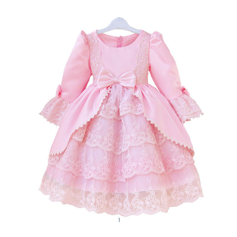 Arrived girls long sleeve dress The princess girl lace flower party with bow LSA09CX