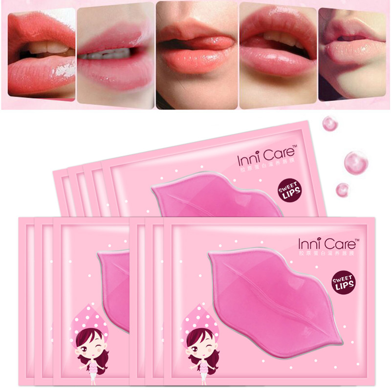 10Pc InniCare Crystal Collagen Lip Mask Pads Moisture Essence Anti Ageing Wrinkle Patch Pad Gel Full Lips Enhancer