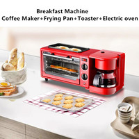 3 in 1 Home Breakfast Machine Coffee Maker Frying Pan Bread Toaster Electric oven Bread baking machine