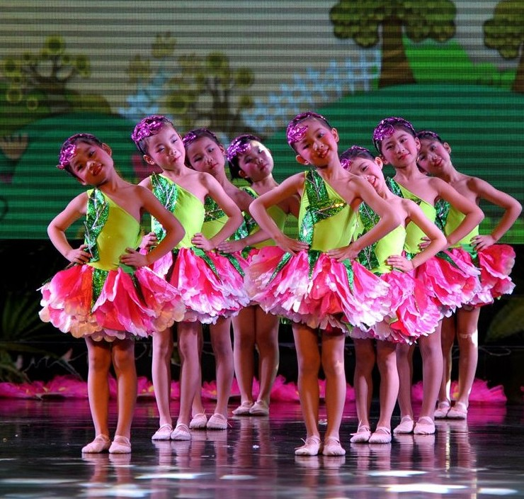 New Children's Day Chinese Perform Costumes Kids Showcase Jasmine Dance Dresses Petal Clothing Stage Performance Clothing