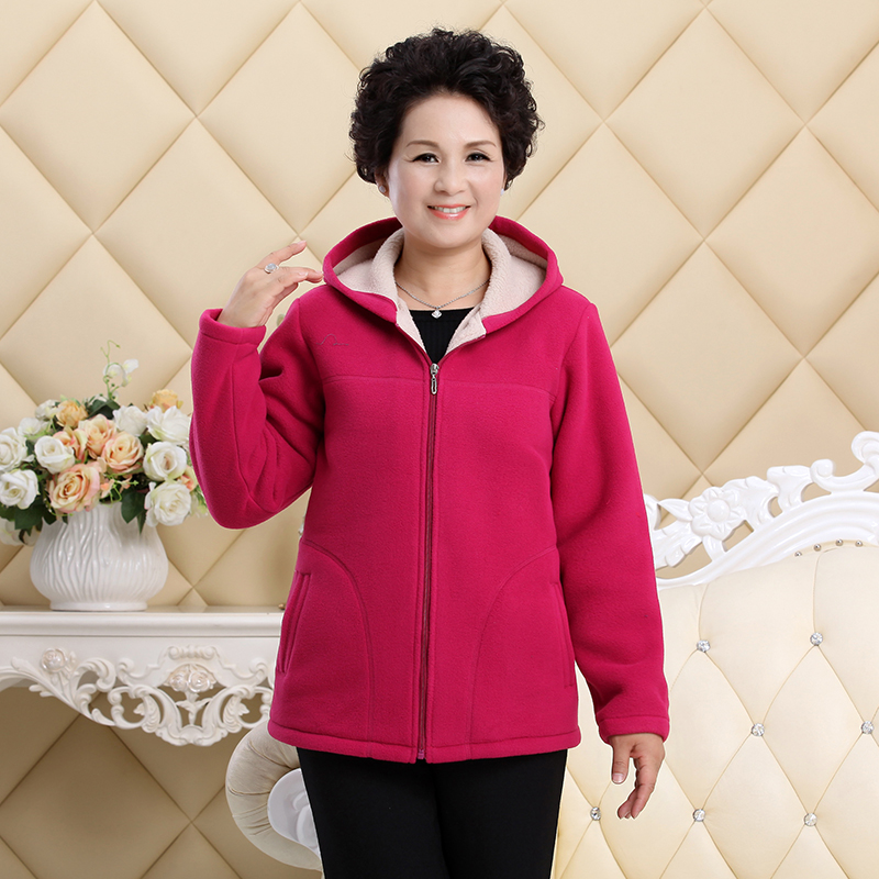 Middle-aged Autumn Fleece Outerwear 2018 Plus size 5XL Slim Hooded Women Jacket Solid color Warm Casual Short Winter Jacket Coat 2