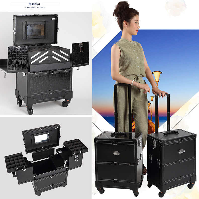 a6baba6ff ... Cosmetic Case luggage profession suitcase for makeup Trolley Box Beauty  professional Luggage travel Cosmetic Bag Universal