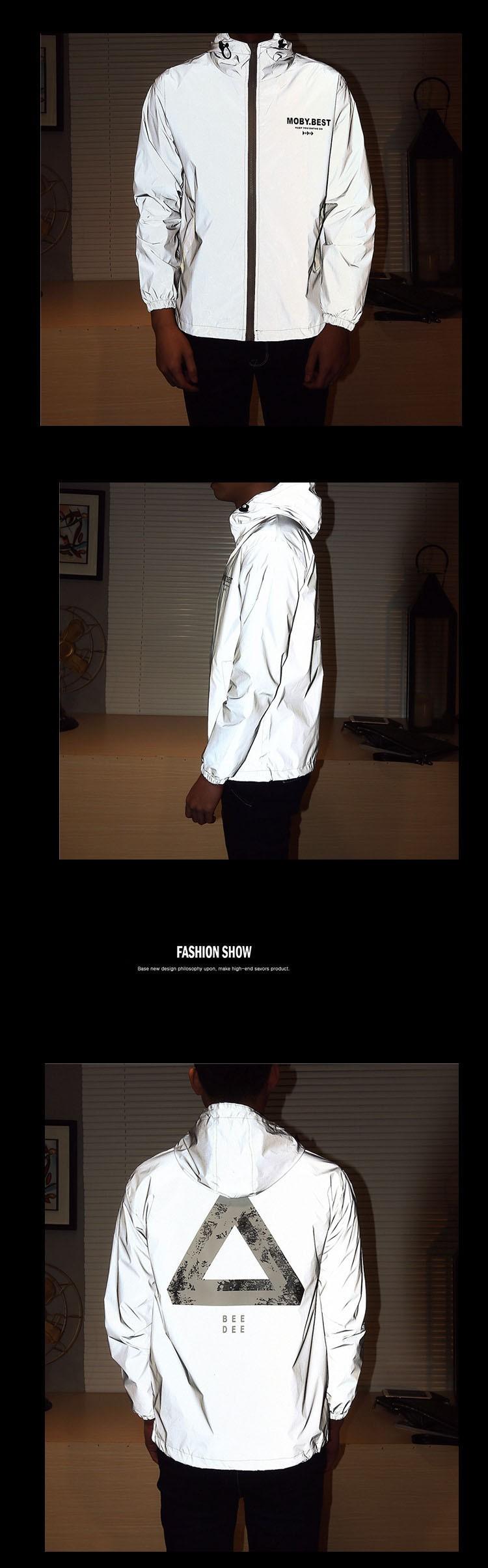 Men jacket casual hiphop windbreaker 3m reflective jacket tide brand men and women lovers sport coat hooded fluorescent clothing (6)