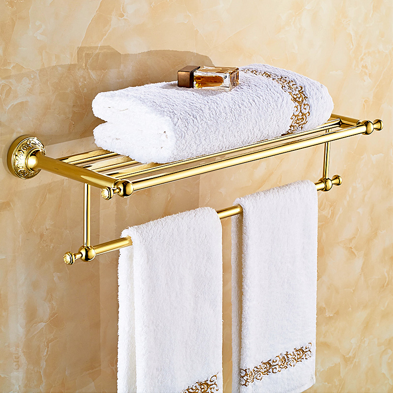 The Bathroom Towel Rack Fixed Bathroom Accessories Wall Mount 60cm Towel Holder Gold Antique Hardware Hanging Gold-plated Rod foldable antique copper bath towel rack wall mount active bathroom towel holder double towel shelf bathroom accessories sj6