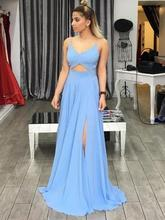 Spaghetti Straps Backless Long Prom Dresses A Line Sexy Cross Back Front Slit Blue Evening Dress 2019 blue suede lace up chest front slit hem spaghetti dress