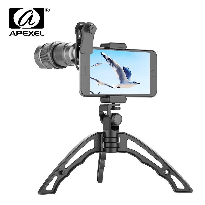 APEXEL lentille de téléphone + Mini Selfie trépied 4-12X Zoom monoculaire téléobjectif télescope objectifs de téléphone portable Smartphones pour iphone xiaomi