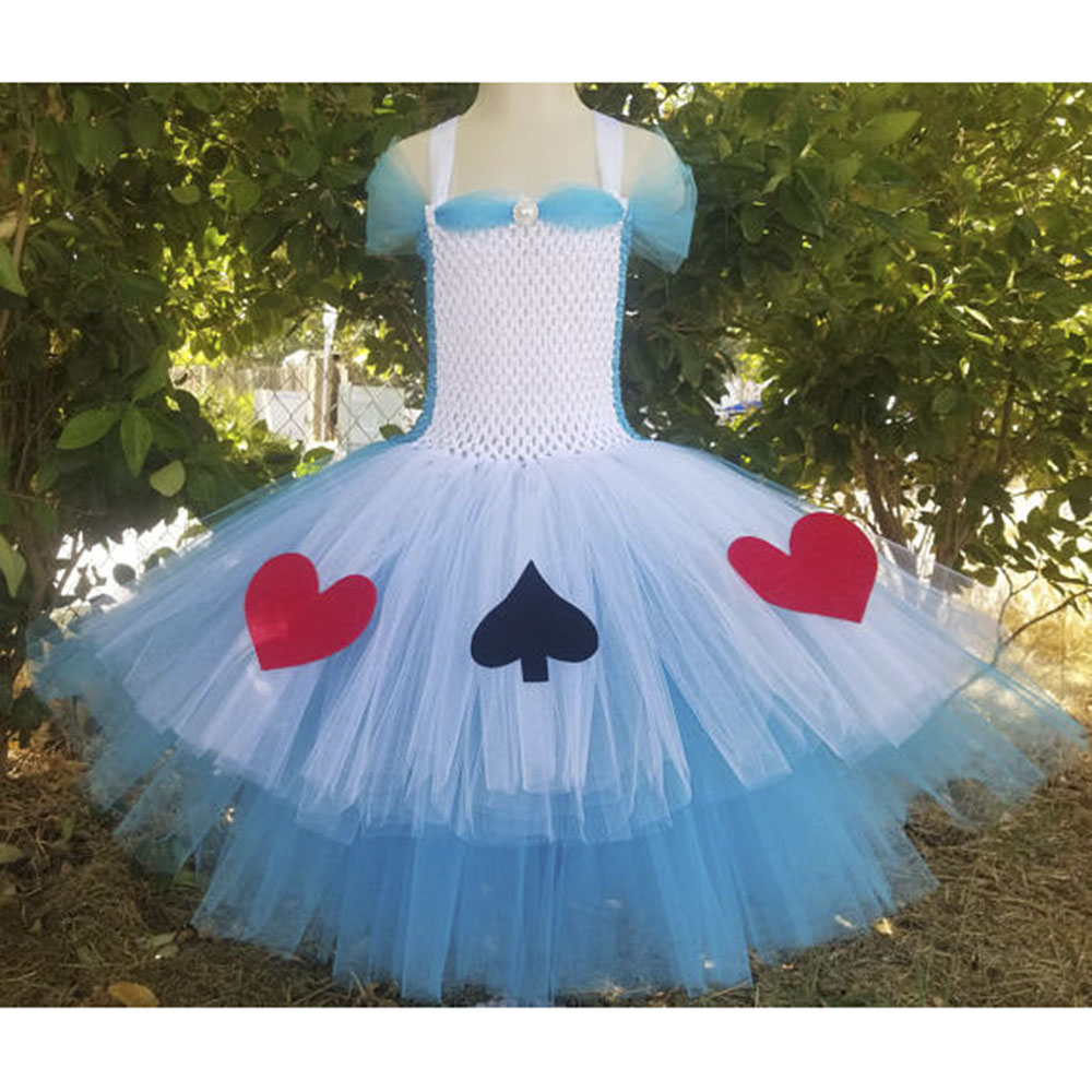 Princess Alice Inspired Tutu Dress Children Knee Length Character Birthday Party Cosplay Tutu Dresses Kids Halloween Costume princess rapunzel tutu dress knee length children birthday party dance dress cosplay halloween costume for girl kids tulle dress