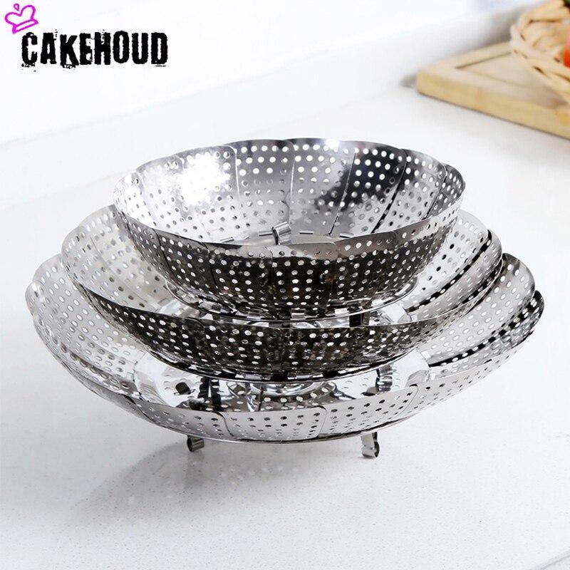 CAKEHOUD Kitchen Retractable Stainless Steel Food Fruit And Vegetable Steamer Tray Multi-function Steamed Dumplings Steamer Grid