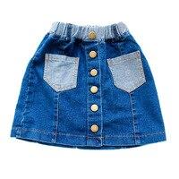 Kızlar Denim Etekler İlkbahar Yaz Tarzı Çocuk Çocuklar Elbise Rahat Yürümeye Başlayan Kız Mini Jean Pocket ile Tutu Etek Bebek Giyim