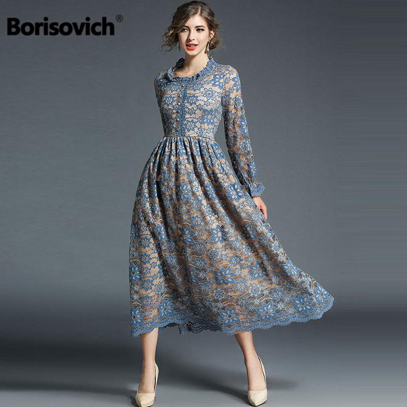 92d0487168d Detail Feedback Questions about Borisovich Luxury Ladies Party Dress New  2018 Spring Fashion England Style Flare Sleeve Hollow Out Lace Women Dresses  M167 ...