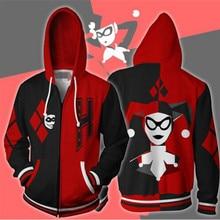 Movie Suicide Squad Cosplay Harley Quinn Anime Hoodie Costume Sweatshirt Jacket Coats Men and Women New