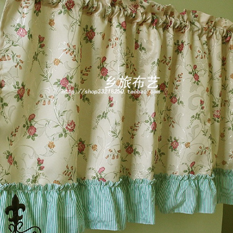US $19.88 |Free shipping Elegant Rose striped flounced hem pastoral short  curtain kitchen curtains for living room bedroom drapes 135*65cm-in  Curtains ...